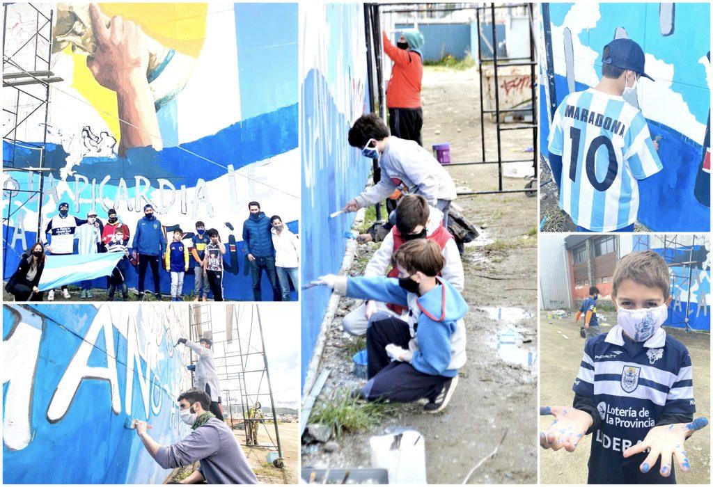 Toma forma el mural comunitario que se realiza en homenaje a Diego Armando Maradona